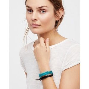 Free People Green Feather Wrapped Cuff